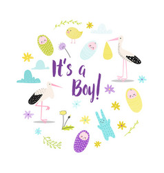 bashower its a boy card newborn child birthday vector image