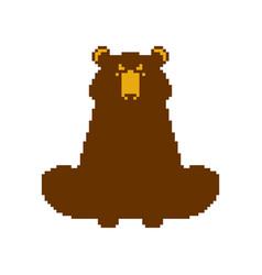 Bear pixel art beast 8 bit vector