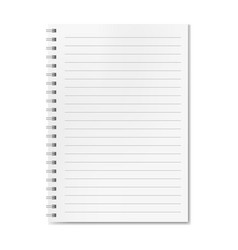 blank realistic lined notebook with shadow vector image