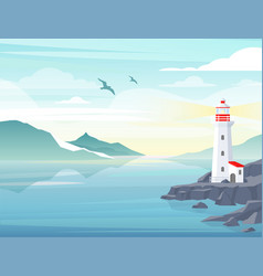 blue sea background with lighthouse on rock stones vector image