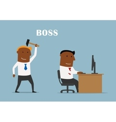 Boss with hammer ready to beat manager vector