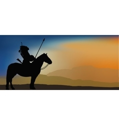 Brave Indian Warrior in Mountains vector