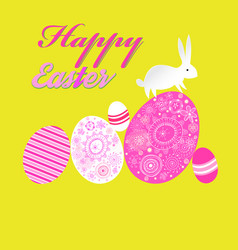 bright unusual greeting card for happy easter with vector image