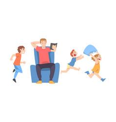Calm parent and mischievous children running vector