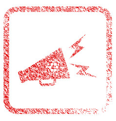 Cardano megaphone alert framed stamp vector