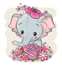 Cartoon elephant with flowerson a white background vector