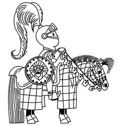 cartoon knight horseman outline vector image