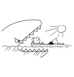 Cartoon stick man relaxing on airbed air mattress vector