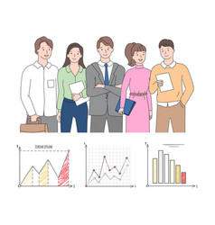 chart report cartoon character colleagues vector image
