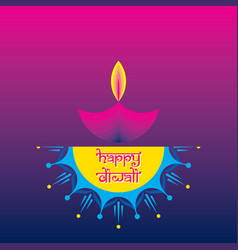 colorful fire cracker with decorated diya for vector image
