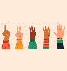 counting hands hand gestures modern hand drawn vector image