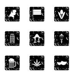 Country Holland icons set grunge style vector