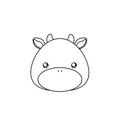 Cow drawing face vector