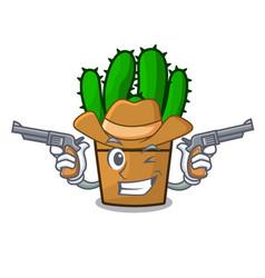 Cowboy spurge cactus in a flowerpot cartoon vector