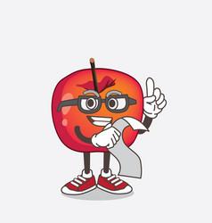 crab apple cartoon mascot character holding a menu vector image