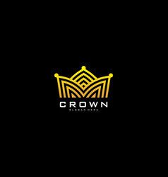 crown logo mono line logo design vector image