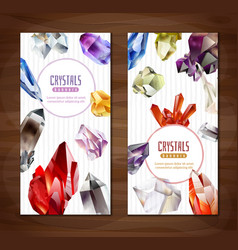 crystals and stones vertical banners set vector image