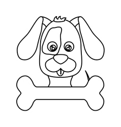 Cute dog and bone icon vector