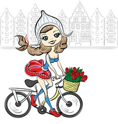 Cute girl on the bike in Amsterdam vector image