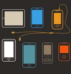 Different mobile gadgets lineart design collection vector image
