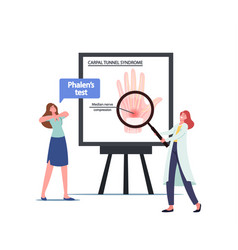 Doctor presenting infographics with carpal tunnel vector
