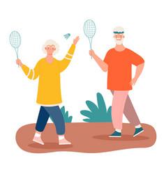Elderly couple playing tennis vector
