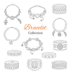 Fashionable bracelets collection hand vector