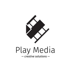 Film logo with play sign Media business vector