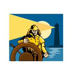 Fisherman sea captain helm retro vector