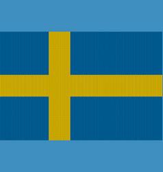 flag of sweden on knitted woolen texture vector image