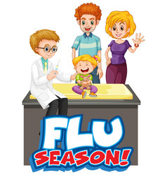 Font design for word flu season with kid and vector