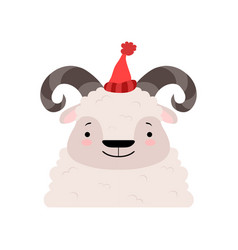 funny sheep in a red knitted hat cute cartoon vector image