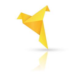 golden paper bird on white background vector image