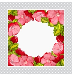 greeting card with watercolor frame pink peony vector image