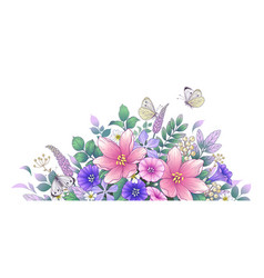 hand drawn beautiful flowers and butterflies vector image