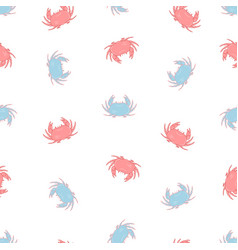 hand drawn seamless pattern with crabs vector image