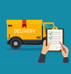 hand holding clipboard with delivery tracking vector image