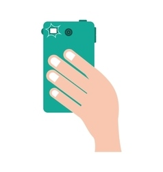 hand with smartphone device vector image