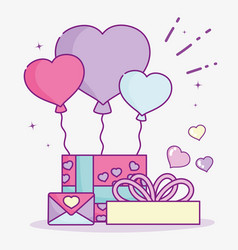 Happy valentines day gift box with balloons and vector