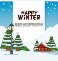 happy winter poster vector image