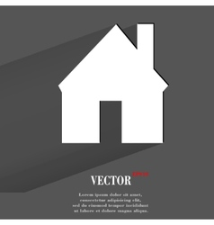 Home Flat modern web button with long shadow and vector image