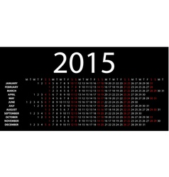 horizontal calendar for 2015 vector image