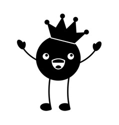 kawaii smile emoji crown happy cartoon vector image