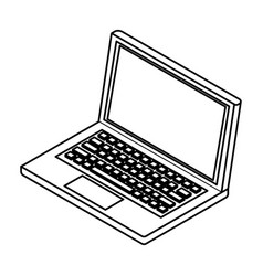 laptop icon isolated black and white vector image