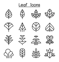 leaf tree icon set in thin line style vector image