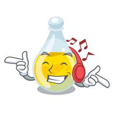 Listening music sesame oil in a mascot bowl vector