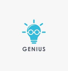 minimalist lighting bulb with smart glasseye logo vector image