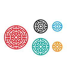 modern round chinese pattern window frame vector image