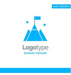 Mountain flag user interface blue solid logo vector