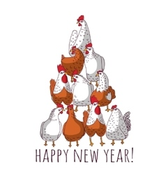 new year greeting chicken card with tree vector image